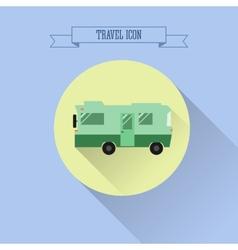 Rv camping icon caravan button in flat design vector