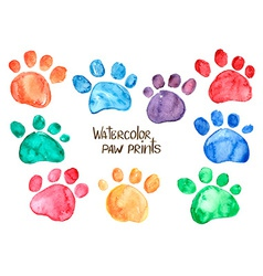 Set of watercolor animal footprints vector image vector image