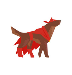Superhero dog character in red cape and mask vector