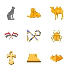 Travel to egypt icons set cartoon style vector
