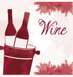 Wine bottles with bucket vintage image vector