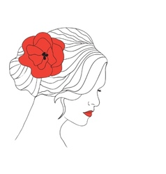 Woman with flower in hair vector image vector image