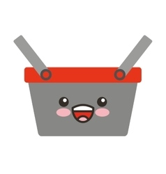 Shopping basket character isolated icon vector