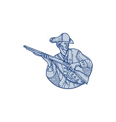 American patriot minuteman rifle mono line vector