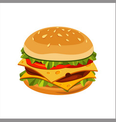 Double cheeseburger sandwich street fast food vector