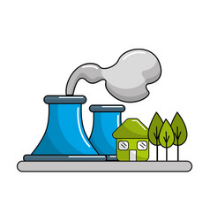 factory pollution near to trees and house vector image