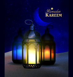 Lanterns stand in the desert at night sky vector
