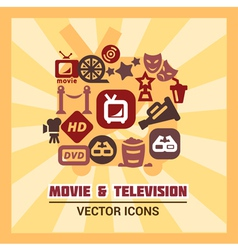 Colorful cinema icons vector