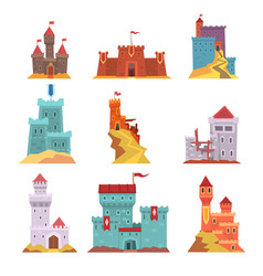 Ancient castles and fortresses set various vector