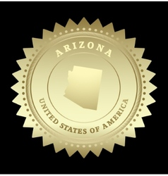 Gold star label arizona vector