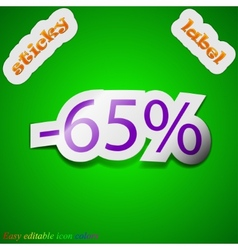 65 percent discount icon sign symbol chic colored vector