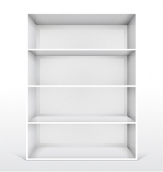 3d isolated empty white bookshelf vector