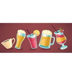 summer drinks collection vector image