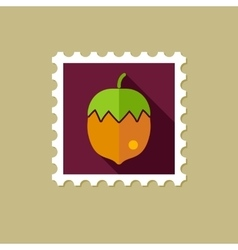Nut flat stamp with long shadow vector