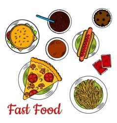 Fast food pizza with sandwiches and desserts icon vector