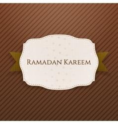 Ramadan kareem greeting emblem with text vector