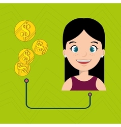 People with woman and currency isolated icon vector