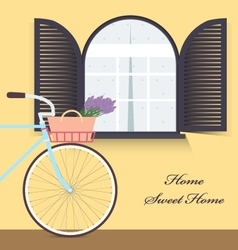 Bicycle with lavender in basket Sweet home vector image