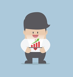 Businessman with growth graph on a tablet vector image
