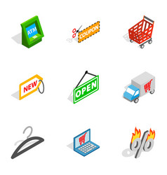 Buy online icons isometric 3d style vector