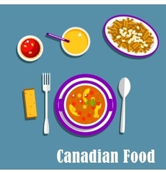 Canadian cuisine dinner dishes and drinks vector image vector image