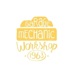 Car mechanic yellow vintage stamp vector