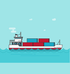 cargo ship floating on ocean water vector image vector image