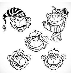 Cute monkey characters line art isolated on a vector image