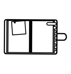 Figure agenda with tabs and paper note icon vector