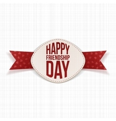 Friendship day festive label and red ribbon vector