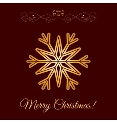 Gold snowflake icon over brown background vector