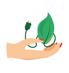hand human with leaf icon vector image