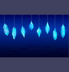 Hanging crystals minerals design elements vector