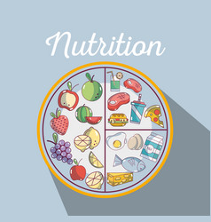 Healthy food to fitness nutritions ingredients vector