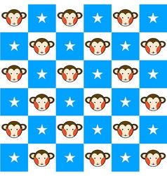 Monkey Star Blue White Chess Board Background vector image