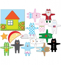 patchwork cats vector image