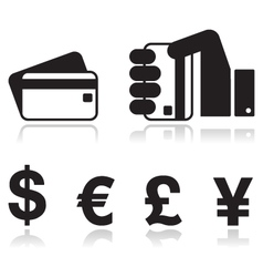 Payment methods icons set - credit card by cash vector