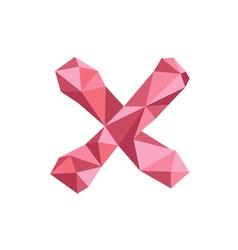 Polygonal Cross Icon with geometrical figures vector image