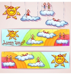 rainbow banner with smiley sun clouds and vector image vector image