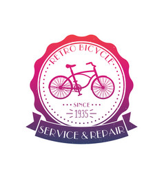Retro bicycle service and repair vintage logo vector