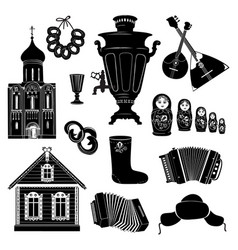 Russian icons travel silhouette symbols object vector