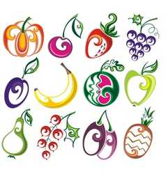 Set of different fruits vector image