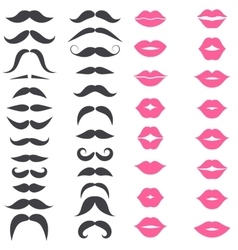 Set of mustache and pink lips isolated on white vector