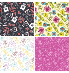 Set of perfume seamless pattern background vector