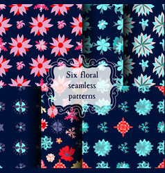 set of seamless patterns with beautiful flowers vector image vector image