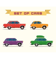set with vintage cars flat style vector image vector image