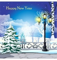 Snowy street with trees and street lamp vector image vector image