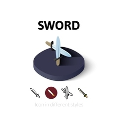 Sword icon in different style vector image