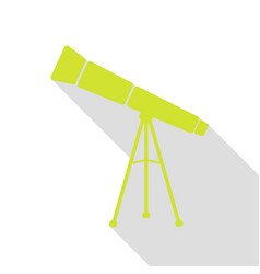 Telescope simple sign pear icon with flat style vector
