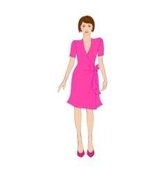 Woman in elegant pink dress flat icon vector image vector image